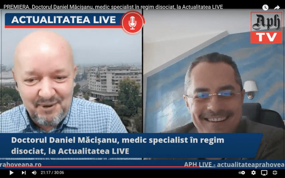 PREMIERA. Doctorul Daniel Măcișanu, medic specialist în regim disociat, invitatul jurnalistului Victor Preda la Actualitatea LIVE