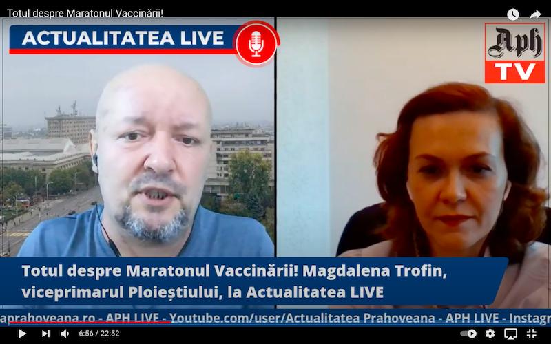 Totul despre Maratonul Vaccinării! Magdalena Trofin, viceprimarul Ploieștiului, în direct la Actualitatea LIVE, ediția din 12 mai 2021