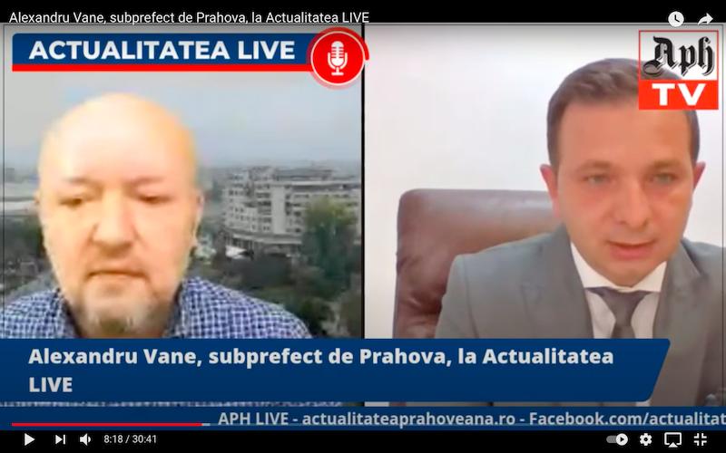Alexandru Vane, subprefect de Prahova, la Actualitatea LIVE, ediția din 14 aprilie 2021