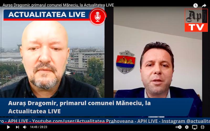 Auraș Dragomir, primarul comunei Măneciu, la Actualitatea LIVE, ediția din 9 aprilie 2021