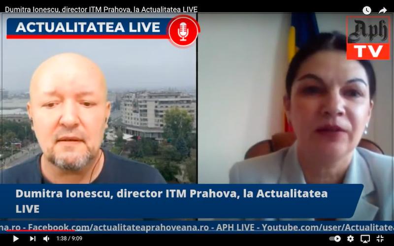 Dumitra Ionescu, director ITM Prahova, la Actualitatea LIVE, ediția din 12 aprilie 2021