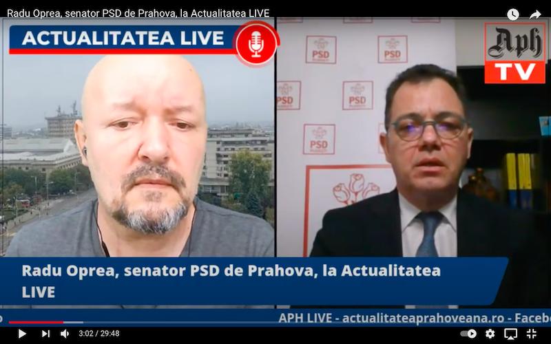 Radu Oprea, senator PSD de Prahova, la Actualitatea LIVE, ediția din 8 aprilie 2021
