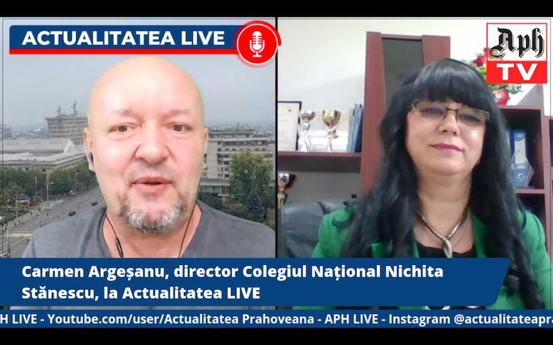 VIDEO PREMIERĂ. Carmen Argeșanu, director Colegiul Național Nichita Stănescu, la Actualitatea LIVE