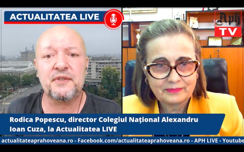 VIDEO PREMIERĂ ora 17:00. Rodica Popescu, director Colegiul Național Alexandru Ioan Cuza, la Actualitatea LIVE