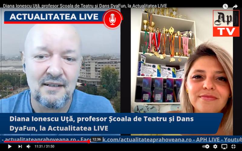 Diana Ionescu Uță, profesor Școala de Teatru și Dans DyaFun, la Actualitatea LIVE