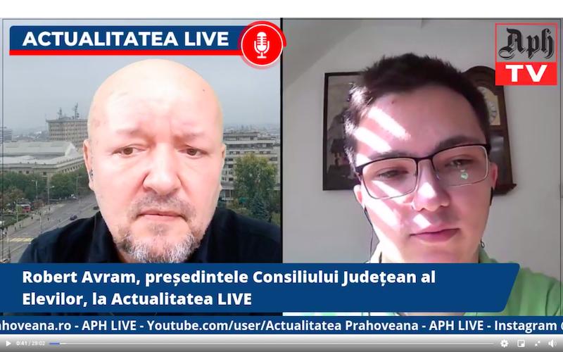 Robert Avram, președintele Consiliului Județean al Elevilor, la Actualitatea LIVE